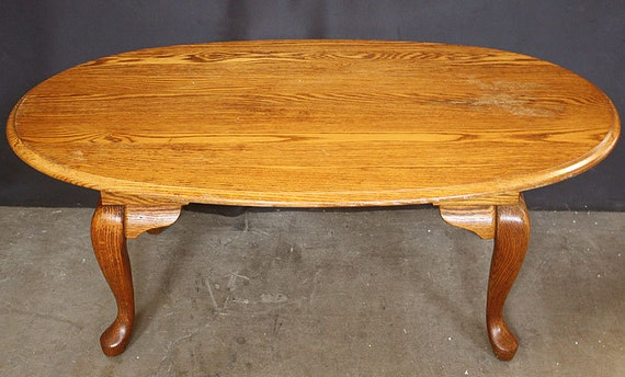 Vintage SOLID Oak Wood Wooden Side Coffee Accent Table Oval