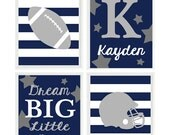 Football Nursery Wall Art, Baby Boy Nursery, Dream Big Little Man Quote, Name, Gray Navy Blue, Football Wall Art, Stars, Stripes, Toddler