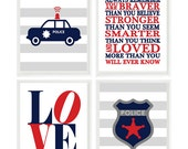 Baby Boy Wall Art, Boy Nursery, Police Car Print, Police Badge Art, Always Remember Quote, Gray Red Navy Blue, Big Boy Room Decor, Toddler
