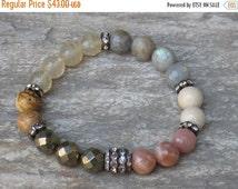 ON SALE Boho Chic Organic Semi Precious Gemstone Bead Stretch Layering Bracelet