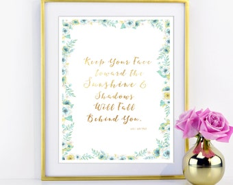 Quote Gold Foil Print - Sunshine - in Real Metallic Gold Foil - Available in many foil colors