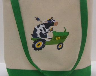 Cow on Tractor