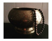 Vintage Etched Brass Bowl -Pedestal- Made In India