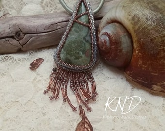 Copper leaf bead embroidery necklace