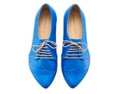 Oxford shoes Royal blue handmade flats/ Polly Jean Blue leather shoes by Tamar Shalem