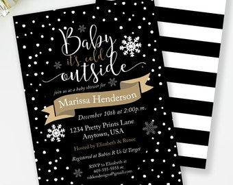 Baby Shower Invite, Baby It's Cold Outside, Black & Gold Baby Shower, Winter Baby Shower, Gender Neutral Shower, Printable Invite, #H1