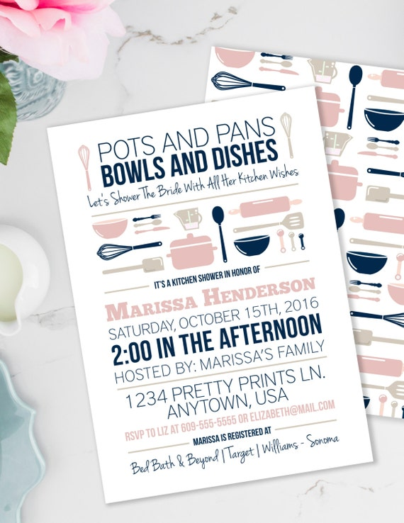 kitchen party invitation cards design. Il 570xn Stock the Kitchen Bridal Shower Invitation  Pots and Pans