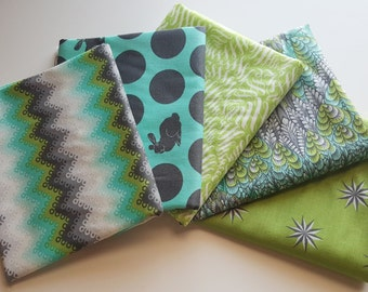 Fox Field Shade Fat Quarter Bundle (5 prints, 1.25 yards total) - Tula Pink - Free Spirit Fabrics