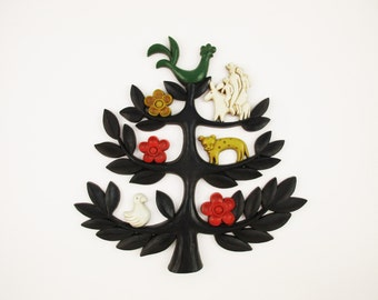 Wall Art - Tree of Life - 'Homco Dart Ind.', USA - Classic '70s Decor - Black Tree - Branches - Family on Donkey - Green Chicken - Faux Wood