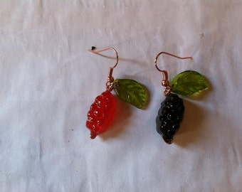 Real Fruit Snack Earrings with Glass Leaves