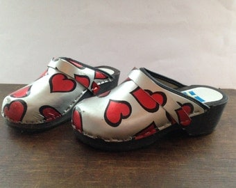 Swedish children wooden clogs EU29 Silver clogs with red hearts Kids clogs Girls hearted clogs