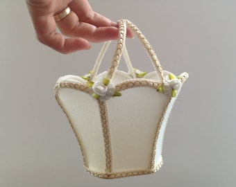 Swedish Vintage basket Small white basket Fabric floral basket White Flower girl basket Wedding accessory