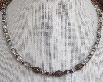 Brown Banded Czech Glass Necklace