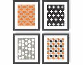 Scandinavian Style Art - Choose Colors, Set of 4, Mid Century Modern Art, Bedroom Decor, Plus Sign, Modern Nursery Art, Pattern Art