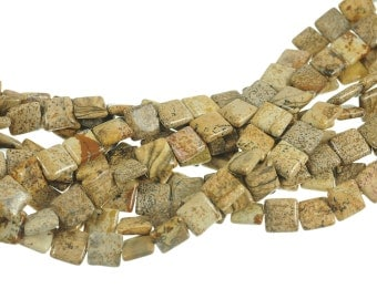 """Picture Jasper 10mm Flat Square Gemstone Beads - Full 16"""" Strand - About 39 Beads - Natural Stone"""