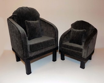 BJD Ultra Suede Chair & Pillow 16 inch doll furniture