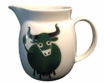 Arabia of Finland Milk Pitcher, Mid Century Scandinavian Design, Vintage Green Cow, Green Bull, Kaj Franck Serving Pitcher,