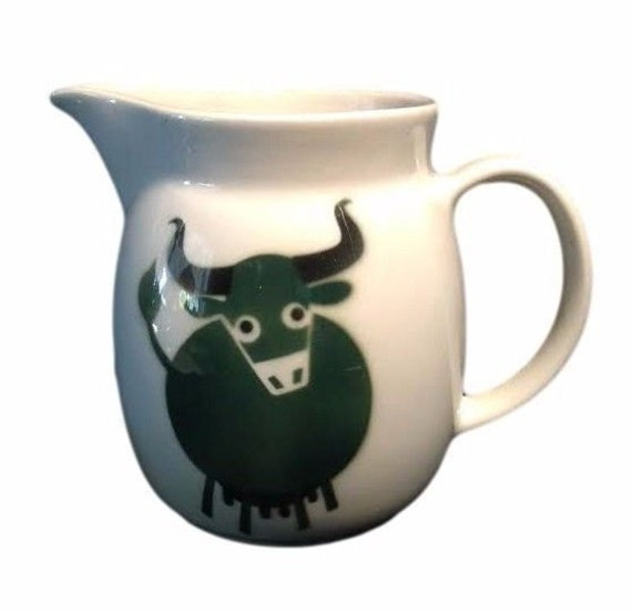 Vintage Arabia of Finland Large Serving Pitcher by Green Cow Bull, Designer Kaj Frank