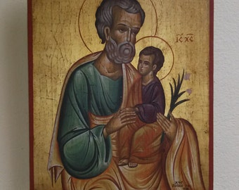 Orthodox icon of Saint Joseph and the Holy Infant,byzantine icon,greek orthodox icons , byzantine art.Ideal christian gift.