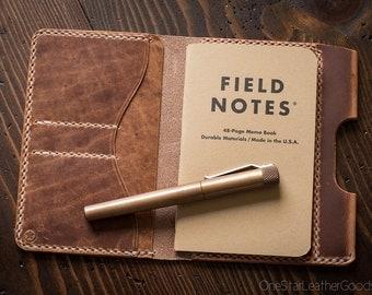 "Field Notes wallet with pen sleeve ""Park Sloper Senior"" Horween leather - natural Dublin"