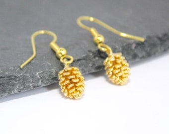 Cute Earrings, Gold Earrings Gold Pine Cone Earrings, Autumn Earrings, Fall Earrings, Autumn Jewellery, Fall Jewellery, Pine Cone Jewellery