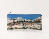 SALE California Landscape Vegan Zip Pouch. Zipper Travel Pencil Case, Cosmetics Bag. Nature, Mountains, Spring