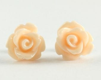 Tiny Soft Peach Rose Earrings, Wedding Jewelry, Bridesmaid Gift, Under 5 Dollars
