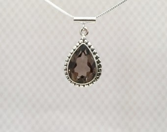 Smokey Quartz and Sterling Silver Teardrop Necklace