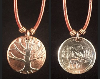 Tree Necklace. Etched Coin Necklace. Tree of Life Necklace. Tree of Life Charm. Tree Charm.
