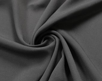 Charcoal Solid CDC 75D Crepe De Chine  Fabric by the Yard- Style 3003