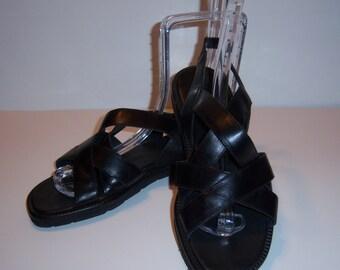 Vintage Cole Haan Black Leather Strappy Gladiator Sandals 8 Medium Deadstock NOS NWOB Vibram Soles