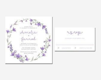Lilac Floral Wreath & Script Wedding Invitation Wedding Invitation and RSVP