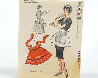 Vintage 1958 McCalls Short Apron Printed Pattern - Sample - One Size - Original Sleeve - Misses or Junior Size - Complete