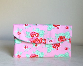 Red Roses clutch/summer bridesmaid clutch/bridesmaid gift/mother of bride/floral clutch/bridesmaid floral clutch