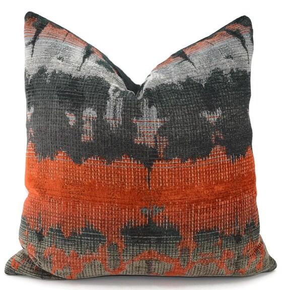 Charcoal Burnt Orange Amp Light Gray Ikat Chenille Throw Pillow