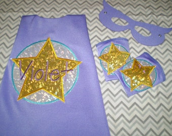 Circle w/Star SuperHero cape, mask & cuffs Set - Personlized - many color and emblem choices You Design