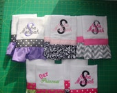 Set of 2 Ruffled, Personalized Baby Burp Clothes, Baby Shower Gift