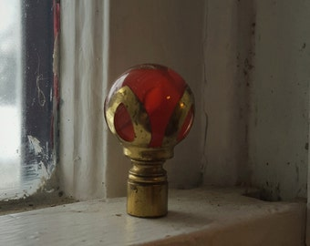 PRETTY Red Chilo Glass Marble Lamp Finial