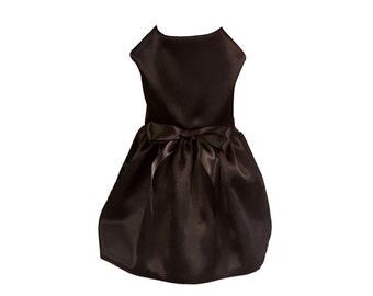 Dog Dress, Dog Clothing, Pet Clothing, Couture Clothing, Elegant Dog Dress in Black Satin