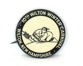 Winter Carnival Button Wilton NH Button 10th Winter Carnival Pin Pinback