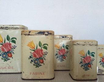 Vintage set of French storage tins