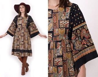 70's Paisley Ethnic Print Cotton Angel BELL Sleeves Black Hippie Boho Empire Waist Midi Dress Vintage S/M