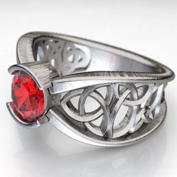 Celtic Ruby Engagement Ring With Trinity Knot Design in Sterling Silver, Made in Your Size CR-1026
