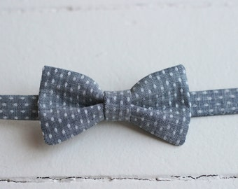 Blue Toddler Bow Tie - Baby Chambray Bow Tie, Baby Bow Tie, Little Boys Bow Tie, Toddler Boys Chambray Bow Tie, Boys blue bow tie