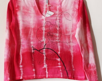 Women's tie dyed and screen printed hoodie top L