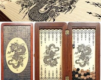 "16"" Chinese Dragon, Handmade wooden BACKGAMMON board"