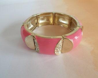 Vintage Pink Metal Enamel Stretch Bracelet For Crafts