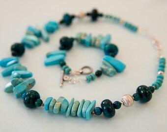 Blue Green natural stone Necklace and Bracelet Set