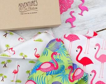 Flamingos hanky set - get well soon gift - wedding hanky set - mother of the bride hankies - girly hankies - flamingo handkerchief set