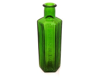 Poison Bottle, Green Glass Apothecary Bottle, Not To Be Taken, Pharmacy Bottle, Large Apothecary Glass Jar,  Medicine Bottle, Chemist Bottle